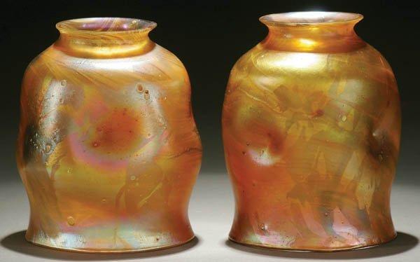17: TWO FINE TIFFANY FAVRILE ART GLASS SHADES