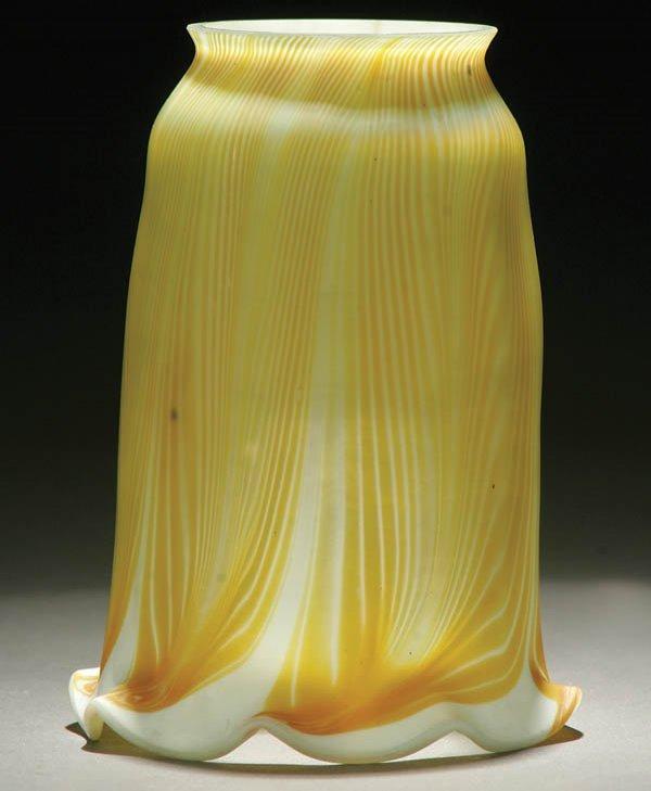 18: AN EARLY TIFFANY FAVRILE ART GLASS SHADE