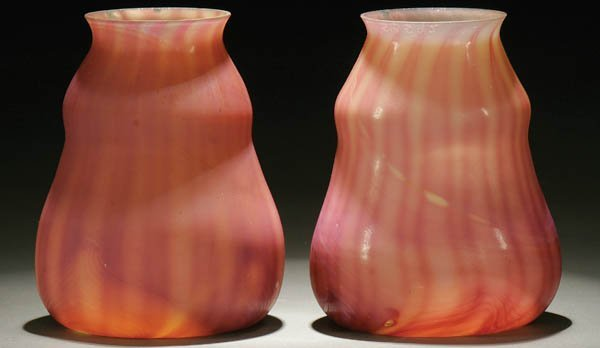 20: A FINE PAIR OF TIFFANY FAVRILE ART GLASS SHADES