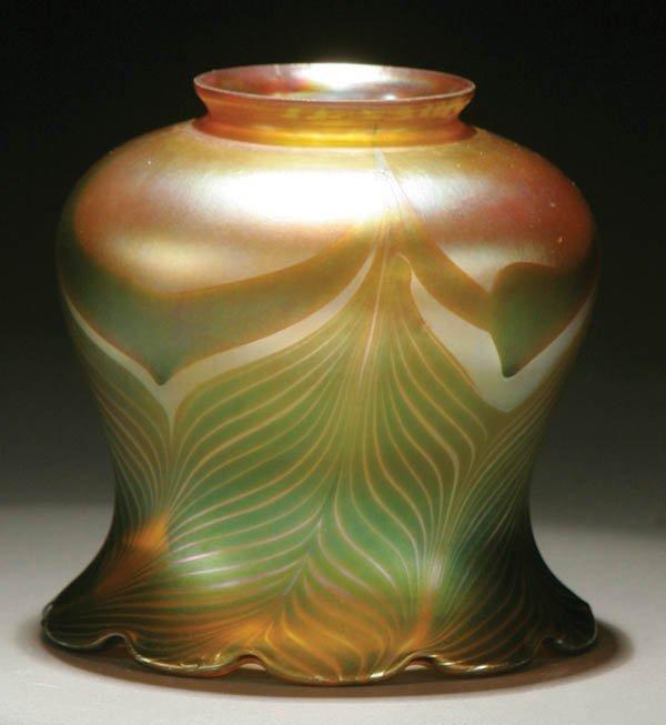 22: A QUEZAL ART GLASS SHADE; circa 1910