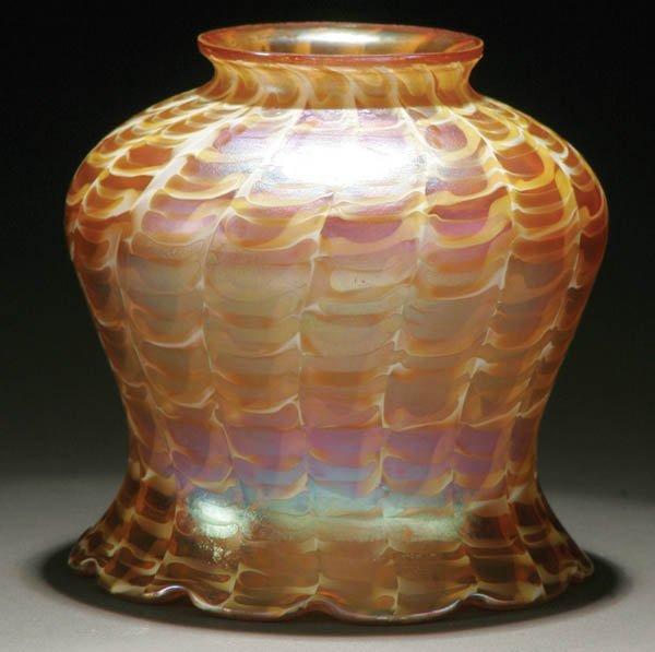 24: A QUEZAL ART GLASS SHADE; circa 1910