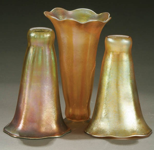 66: THREE LILY SHADES, FAVRILE GLASS