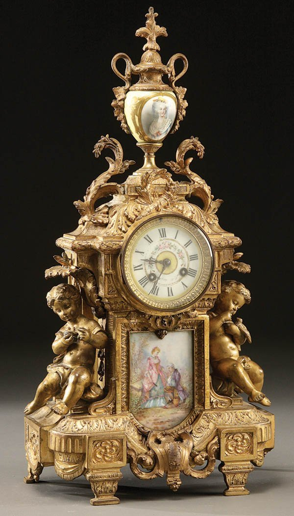 305: A MANTLE CLOCK, FRENCH LOUIS XVI STYLE GILT BRONZE