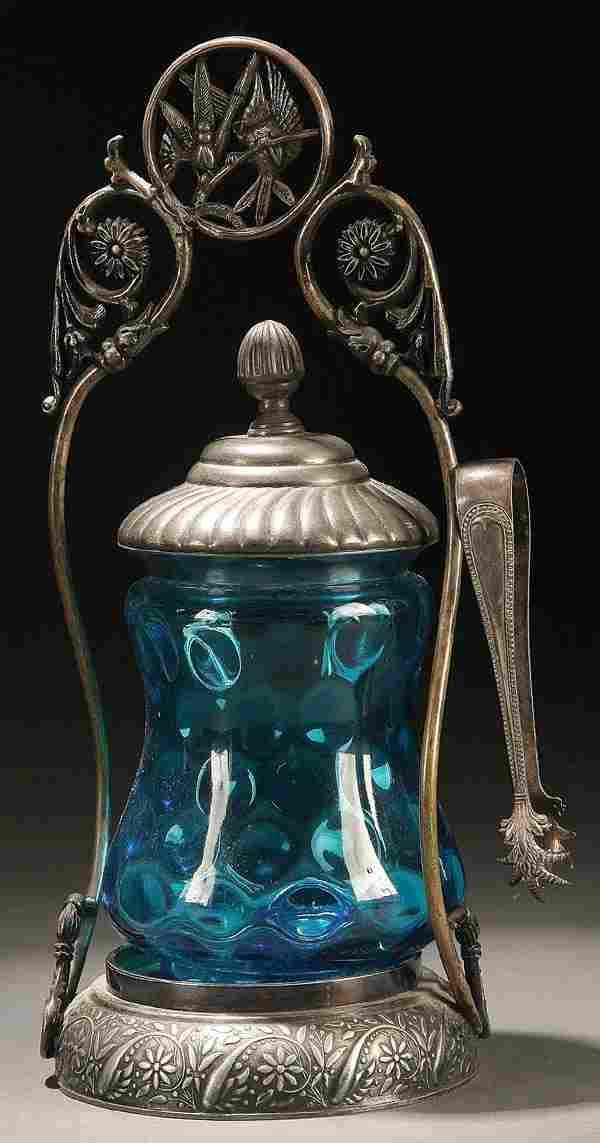 706: VICTORIAN QUADRUPLE PLATE & BLUE GLASS PICKLE CAST
