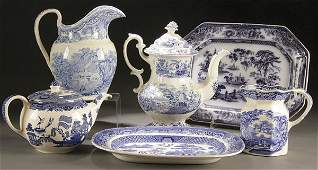 714 6PIECE STAFFORDSHIRE TRANSFERWARE POTTERY GROUP