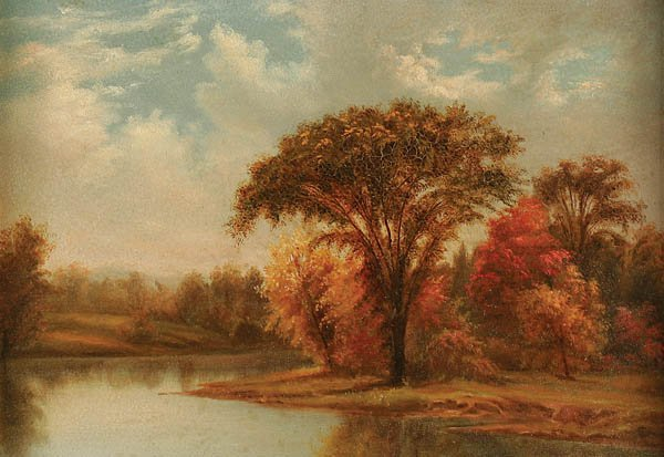 "789: AMERICAN SCHOOL ""Fall Trees Near the River""-circa"