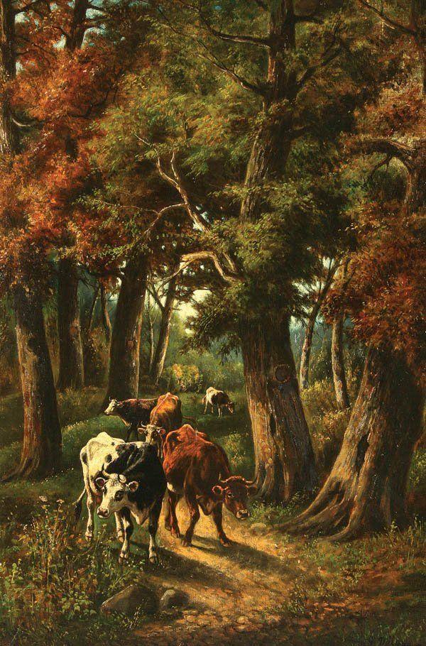 794: GIOVANNI MILONE (Italian 19th century) Cattle on W