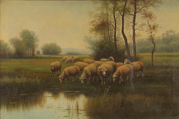 798: J. LOVELING (American 19th century) Watering Sheep