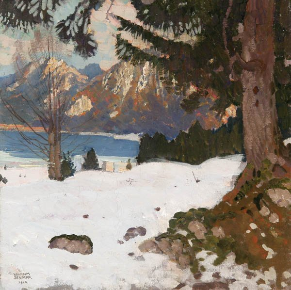 801: WILHELM H. STUMPF (German 1873-1928) A Winter Lake