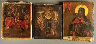 1057 GROUP OF 3 ANTIQUE RUSSIAN ICONS