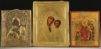 1060 GROUP OF 3 ANTIQUE RUSSIAN ICONS 19th century