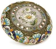 333 A RUSSIAN SILVER GILT AND SHADED ENAMEL PILL BOX