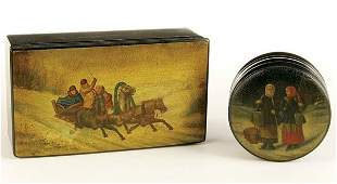 455: A PAIR OF RUSSIAN HAND PAINTED LACQUER BOXES, 19t