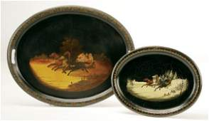457: A FINE PAIR OF RUSSIAN HAND PAINTED LACQUER TRAYS