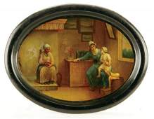 458: A RUSSIAN HAND PAINTED LACQUER TRAY Lukutin, 19th
