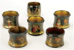 459 6 RUSSIAN HAND PAINTED LACQUER NAPKIN RINGS 19th