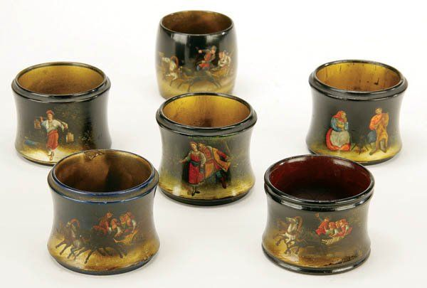 459: 6 RUSSIAN HAND PAINTED LACQUER NAPKIN RINGS 19th