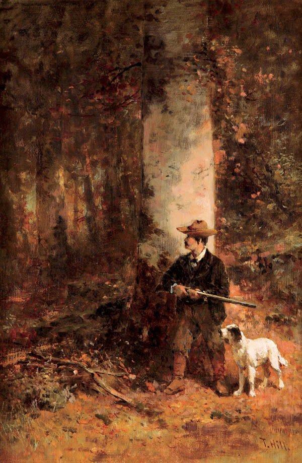 464: Thomas Hill (American 1829-1908) A Hunting Scene