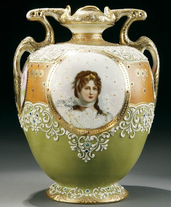 1: A HAND PAINTED NIPPON QUEEN LOUISE PORTRAIT VASE