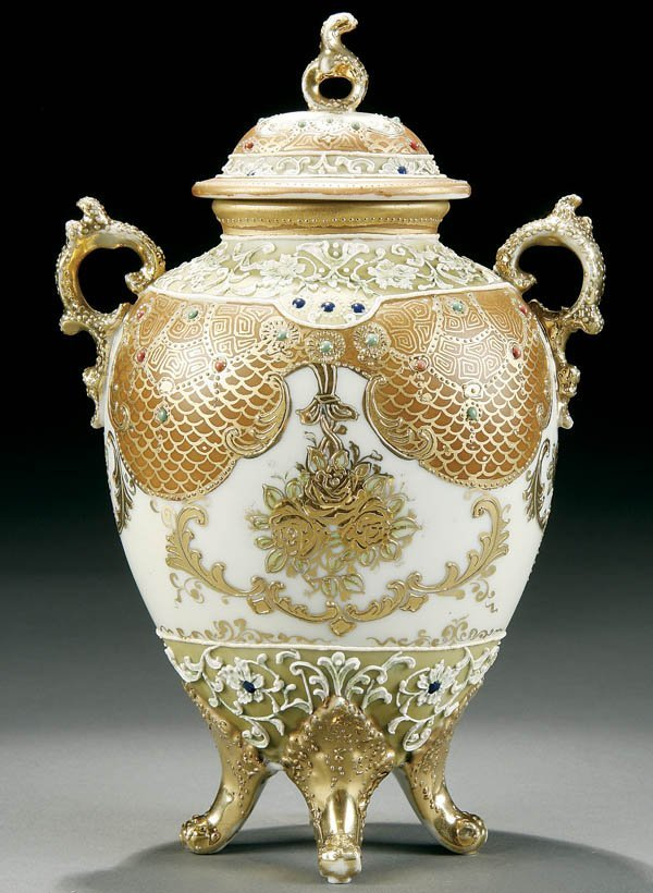 2: A HAND PAINTED NIPPON MORIAGE URN