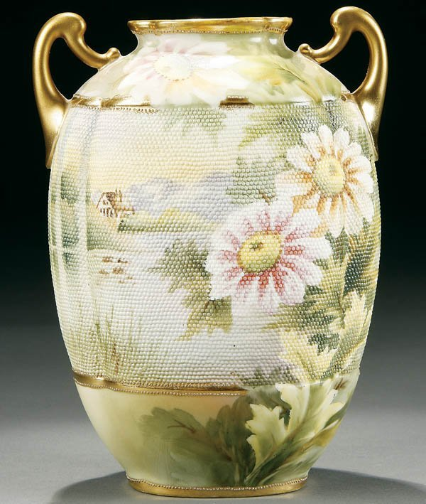 10: A NIPPON TAPESTRY SCENIC HANDLED VASE