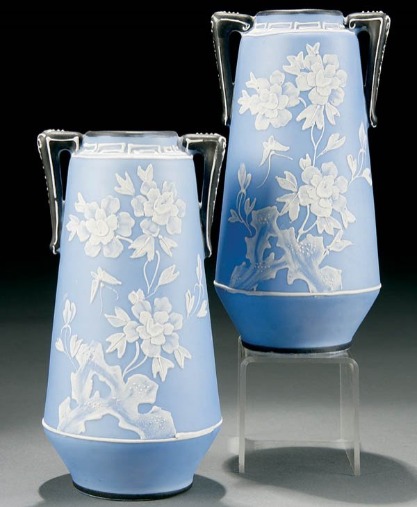 12: A PAIR OF NIPPON WEDGWOOD DECORATED VASES