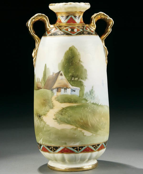 14: A HAND PAINTED NIPPON COTTAGE SCENIC HANDLED VASE