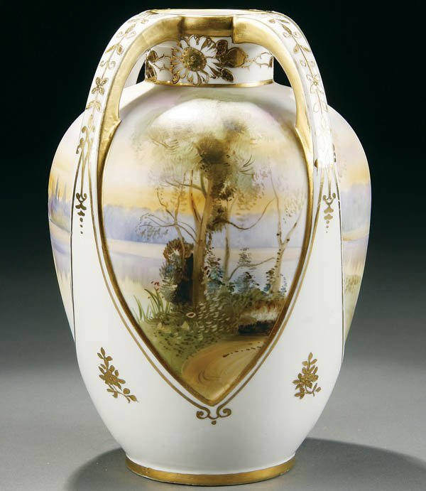 16: A HAND PAINTED NIPPON SCENIC FOUR HANDLED VASE