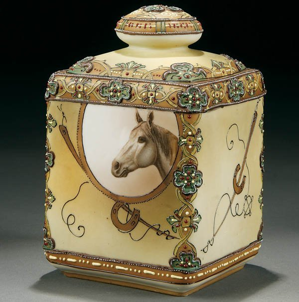 18: A NIPPON HORSE & MORIAGE DECORATED COVERED HUMIDOR