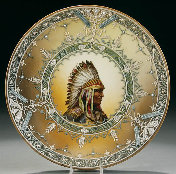 20: A HAND PAINTED NIPPON MORIAGE INDIAN PLAQUE