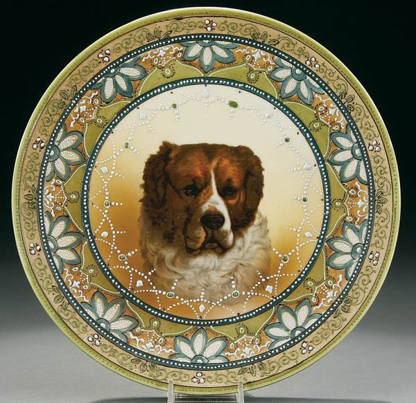 21: A HAND PAINTED NIPPON ST. BERNARD DOG PLAQUE