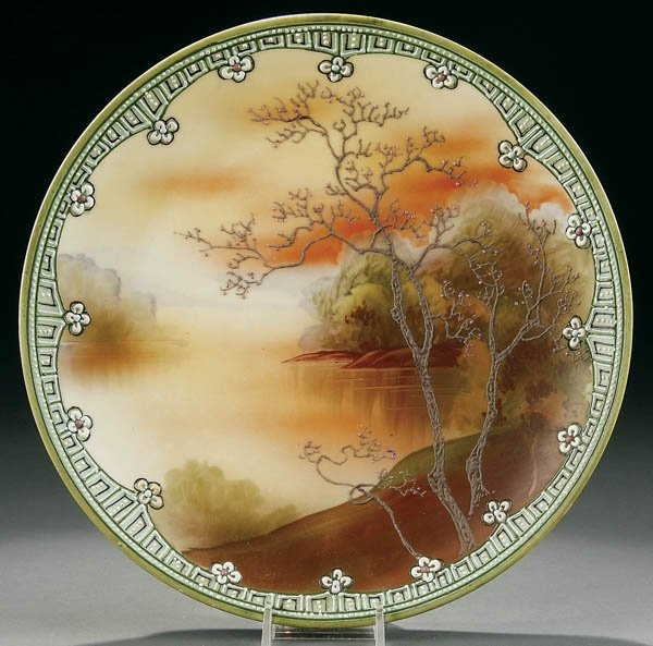 22: A NIPPON GALLE SCENIC ENAMELED PLAQUE