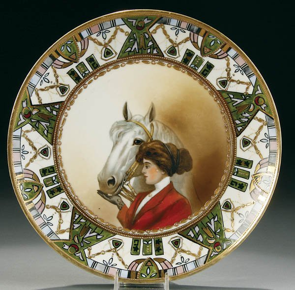 23: A NIPPON WOMAN WITH HORSE EQUESTRIAN SCENE PLAQUE
