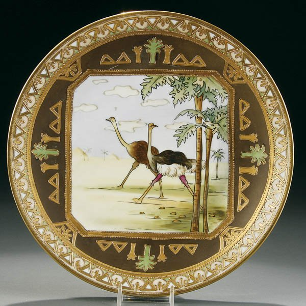 24: A NIPPON OSTRICHES EGYPTIAN SCENIC PLAQUE