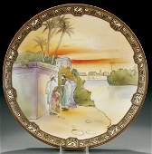 38: A HAND PAINTED NIPPON EGYPTIAN SCENIC PLAQUE earl