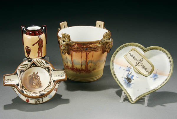 61: FOUR PIECE HAND PAINTED NIPPON PORCELAIN GROUP ea