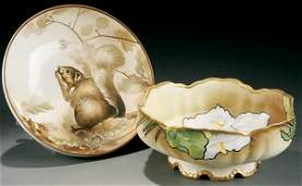 76: A NIPPON MOLDED SQUIRREL EATING FOOTED NUT BOWL