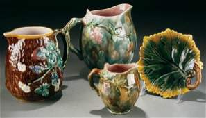 152 A 4 PIECE GROUPING OF MAJOLICA late 19th century