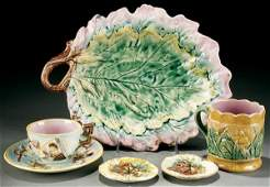156 A 6 PIECE GROUPING OF MAJOLICA late 19th century