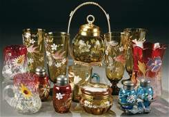 227: A FINE 13 PIECE OF VICTORIAN GLASS, including a c