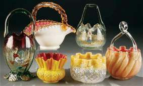243 A 6 PIECE GROUPING OF VICTORIAN GLASS including
