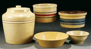 365 19th YELLOWWARE KITCHEN GROUPING a five piece gro