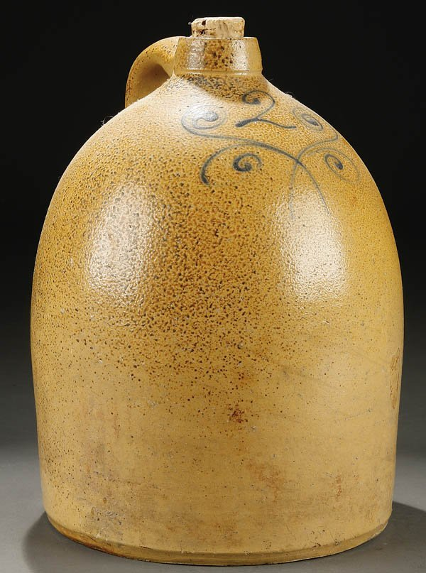 384: A TWO GALLON STONEWARE HANDLED JUG with cobalt bl