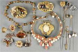 492 VICTORIAN  EDWARDIAN  ART NOUVEAU JEWELRY GROUP