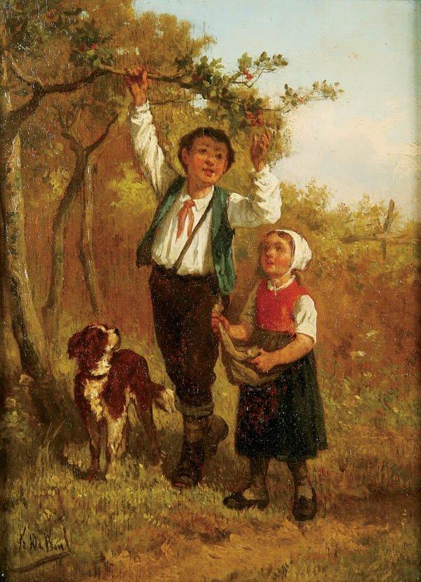 710: Frans de Beul (Belgian 1849-1919) Picking Cherrie
