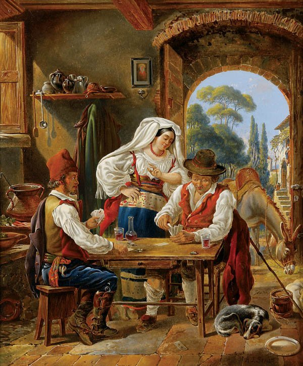 711: Arthur John Strutt (British 1819-1888) The Card P