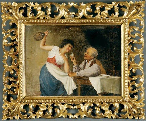 713: R. Agresti (Italian) Another Glass of Wine Oil on