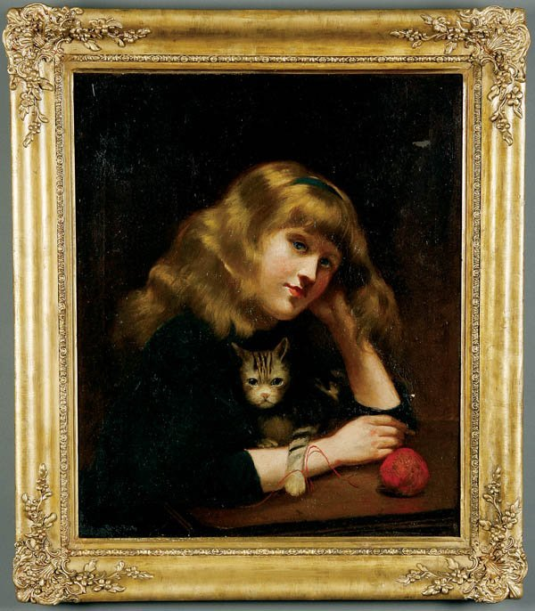 715: British School A Victorian Girl and Her Cat--circ