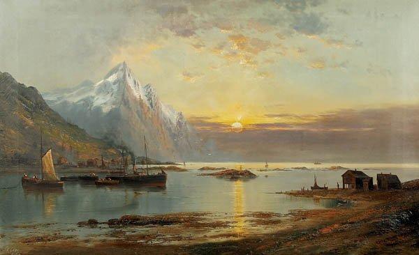 719: Gustav Klatt (German b. 1861) A Fjord at Sunset--