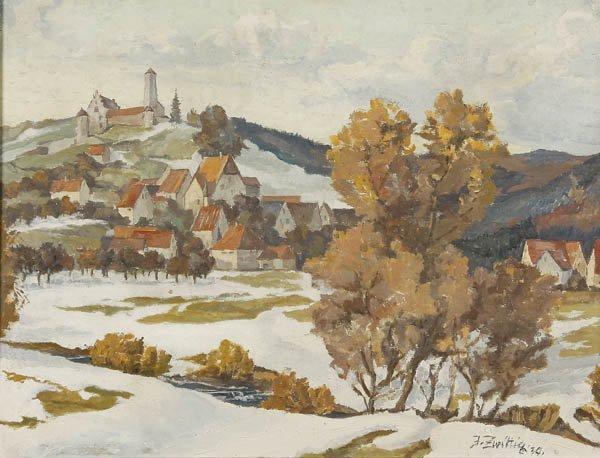 727: F. Zwittig (German 20th century) Winter Landscape
